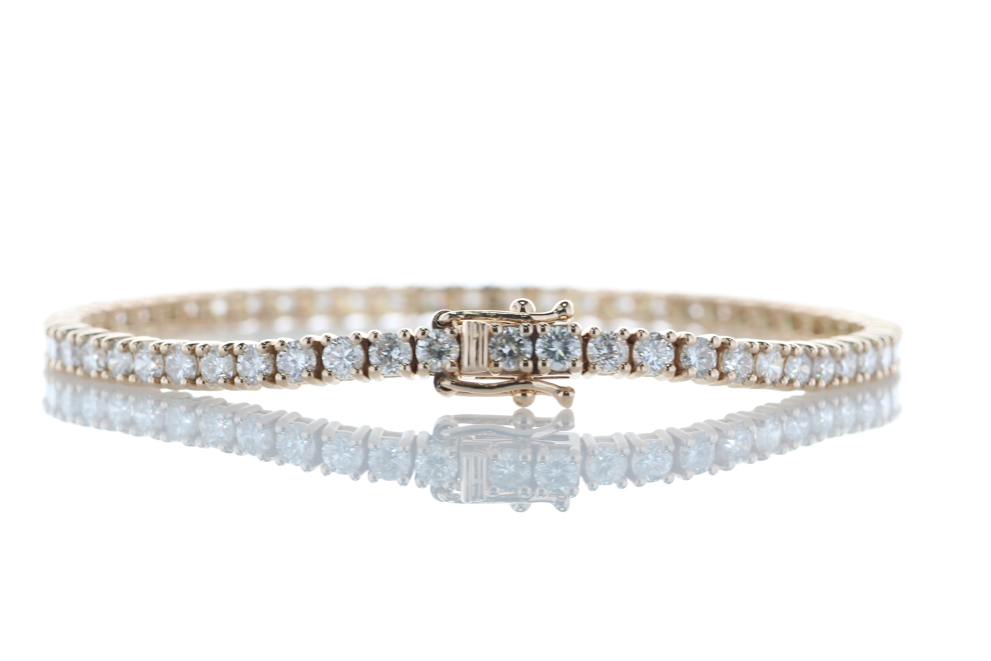 Lot 4 - 18ct Rose Gold Tennis Diamond Bracelet 4.33