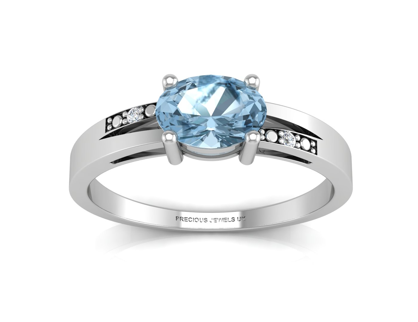 Lot 41 - 9ct White Gold Diamond And Blue Topaz Ring 0.01