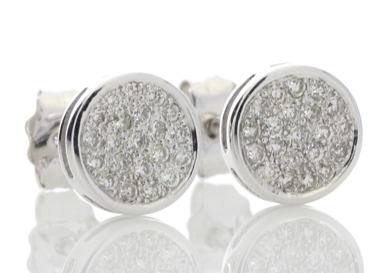 Lot 48 - 9ct White Gold Diamond Cluster Earring 0.21