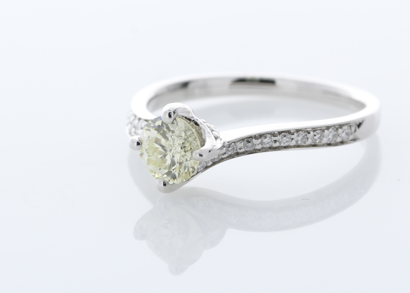 Lot 10 - 18ct White Gold Single Stone with Diamond set Shoulders Ring 0.72