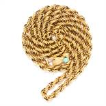 ANTIQUE GEORGIAN TURQUOISE AND GARNET FANCY LINK CHAIN in yellow gold, comprising of a fancy link