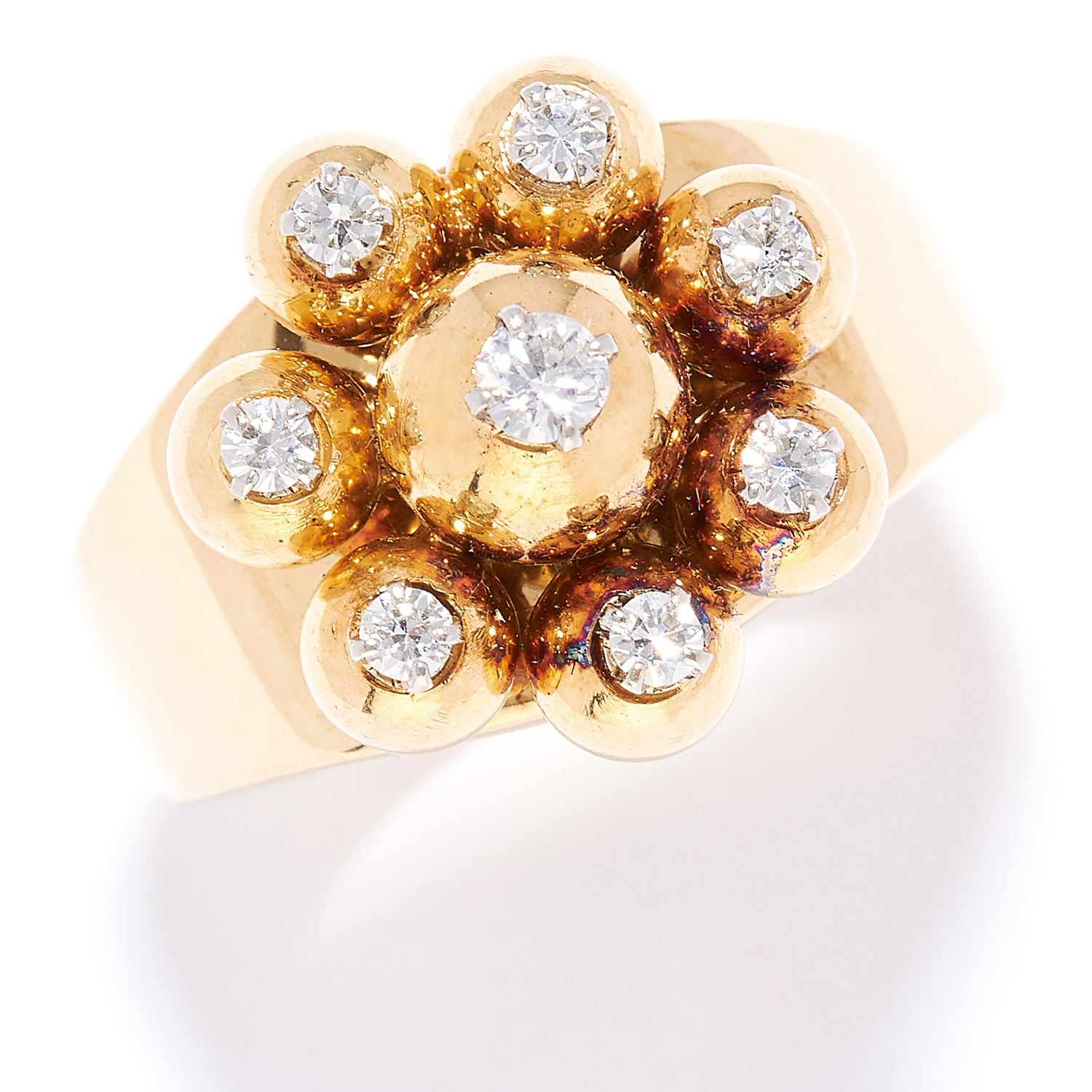 Los 59 - VINTAGE DIAMOND DRESS RING, CARTIER, CIRCA 1960 in 18ct yellow gold, set with round cut diamonds