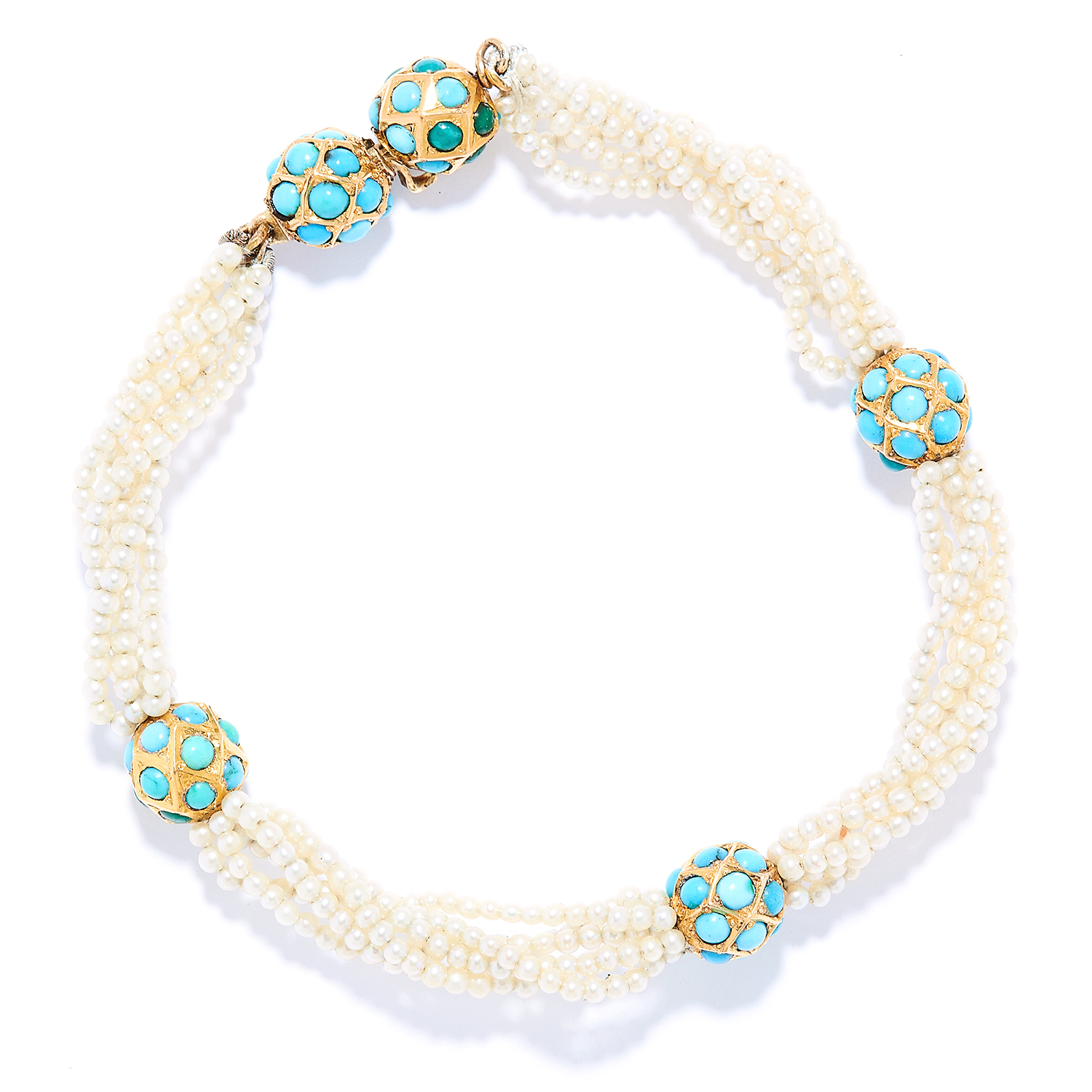 Los 21 - TURQUOISE AND SEED PEARL BRACELET in yellow gold, comprising of strands of seed pearls with cabochon
