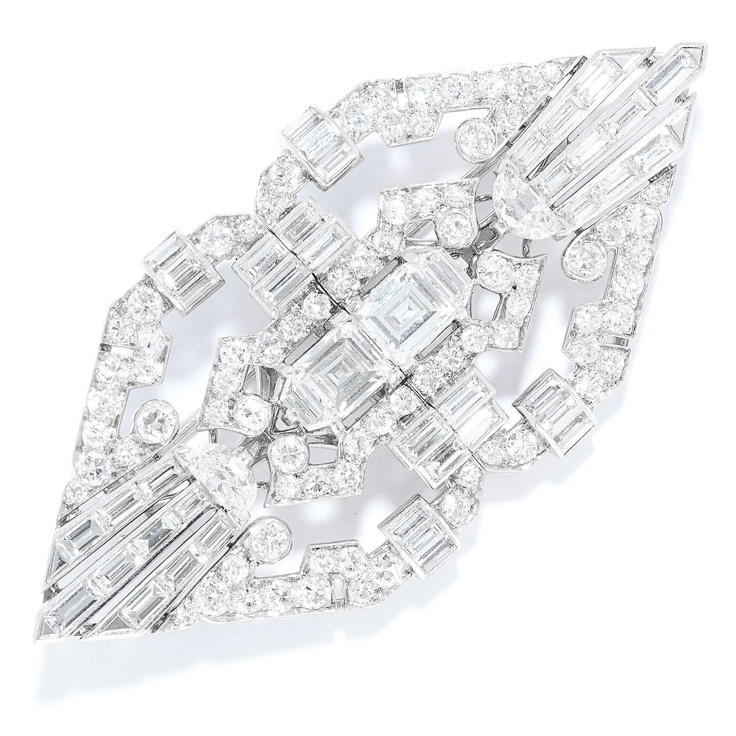 ANTIQUE DIAMOND DOUBLE CLIP BROOCH, CARTIER in platinum, the art deco design set with round,