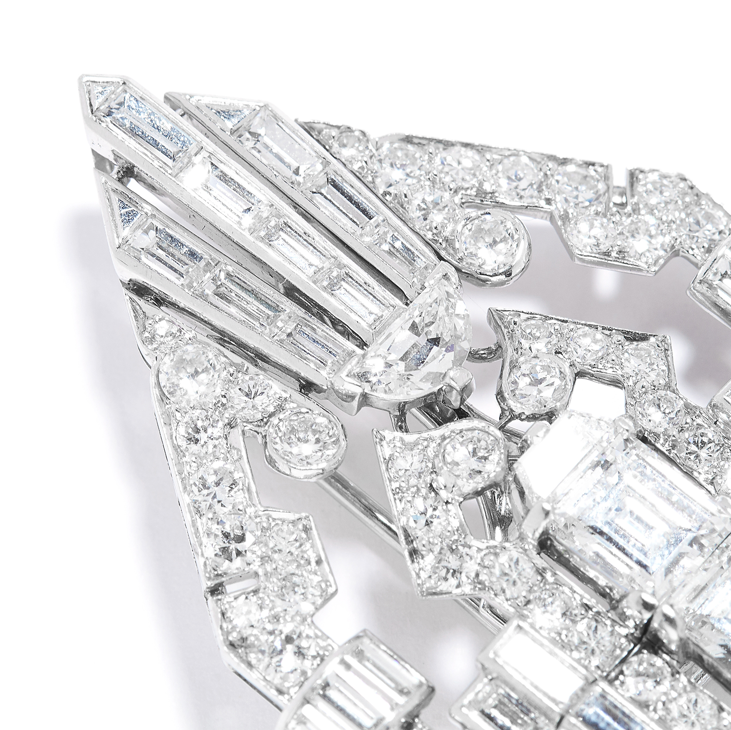 ANTIQUE DIAMOND DOUBLE CLIP BROOCH, CARTIER in platinum, the art deco design set with round, - Image 2 of 2