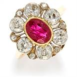 1.40 CARAT BURMA NO HEAT RUBY AND DIAMOND CLUSTER RING in high carat yellow gold, comprising of a