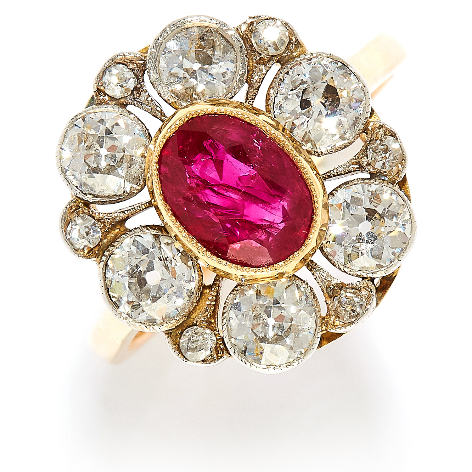 Los 4 - 1.40 CARAT BURMA NO HEAT RUBY AND DIAMOND CLUSTER RING in high carat yellow gold, comprising of a