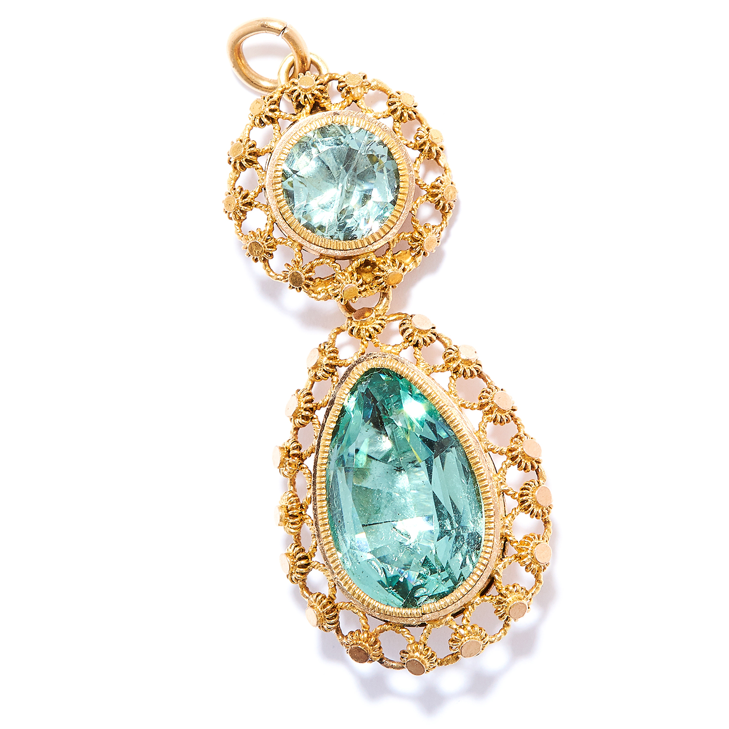 ANTIQUE 5.35 CARAT AQUAMARINE PENDANT in high carat yellow gold, comprising of a round and pear