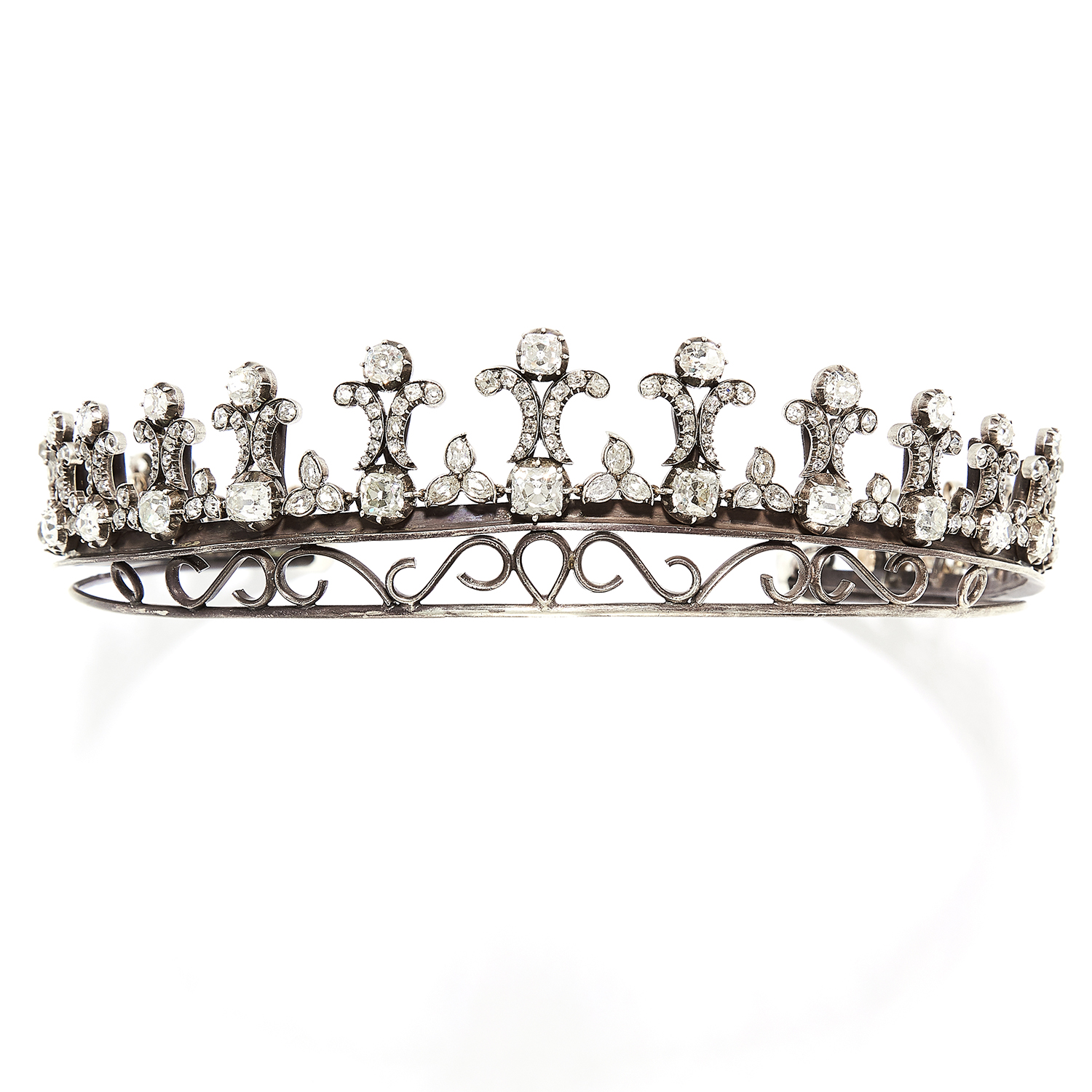 ANTIQUE 60.00 CARAT DIAMOND TIARA / RIVIERA NECKLACE, CIRCA 1870 in gold and silver, designed as a
