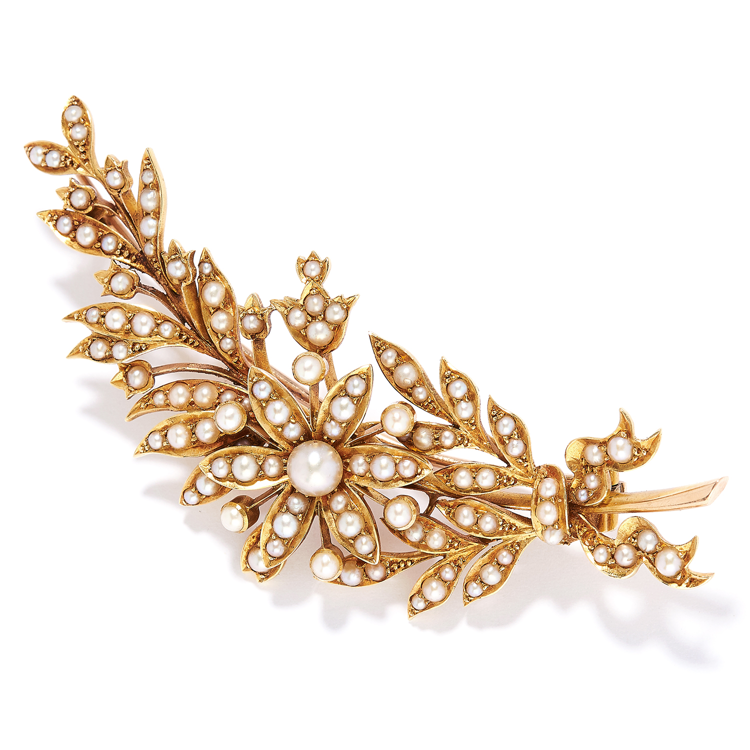 ANTIQUE PEARL FLOWER SPRAY BROOCH in high carat yellow gold, set with seed pearls in flower spray