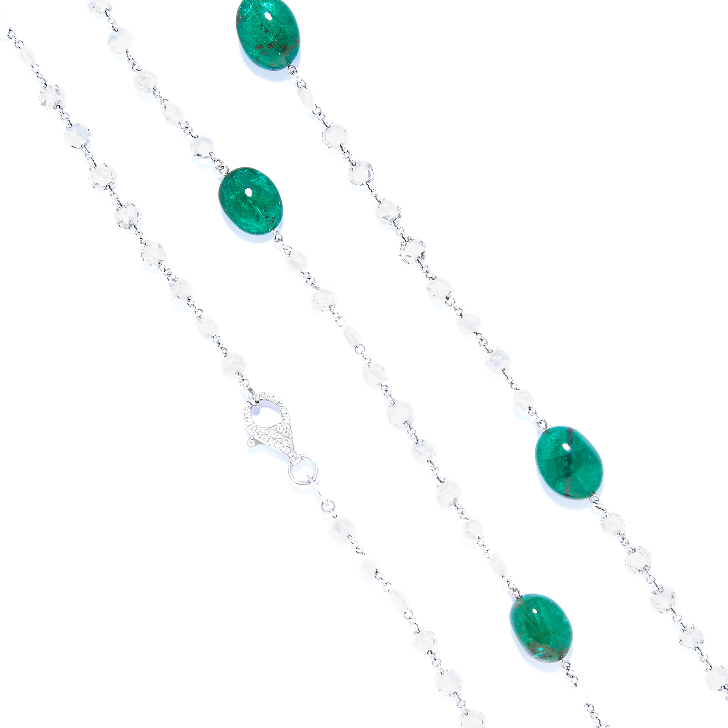 EMERALD AND DIAMOND NECKLACE in 18ct white gold, comprising of alternating polished emerald beads - Bild 3 aus 3