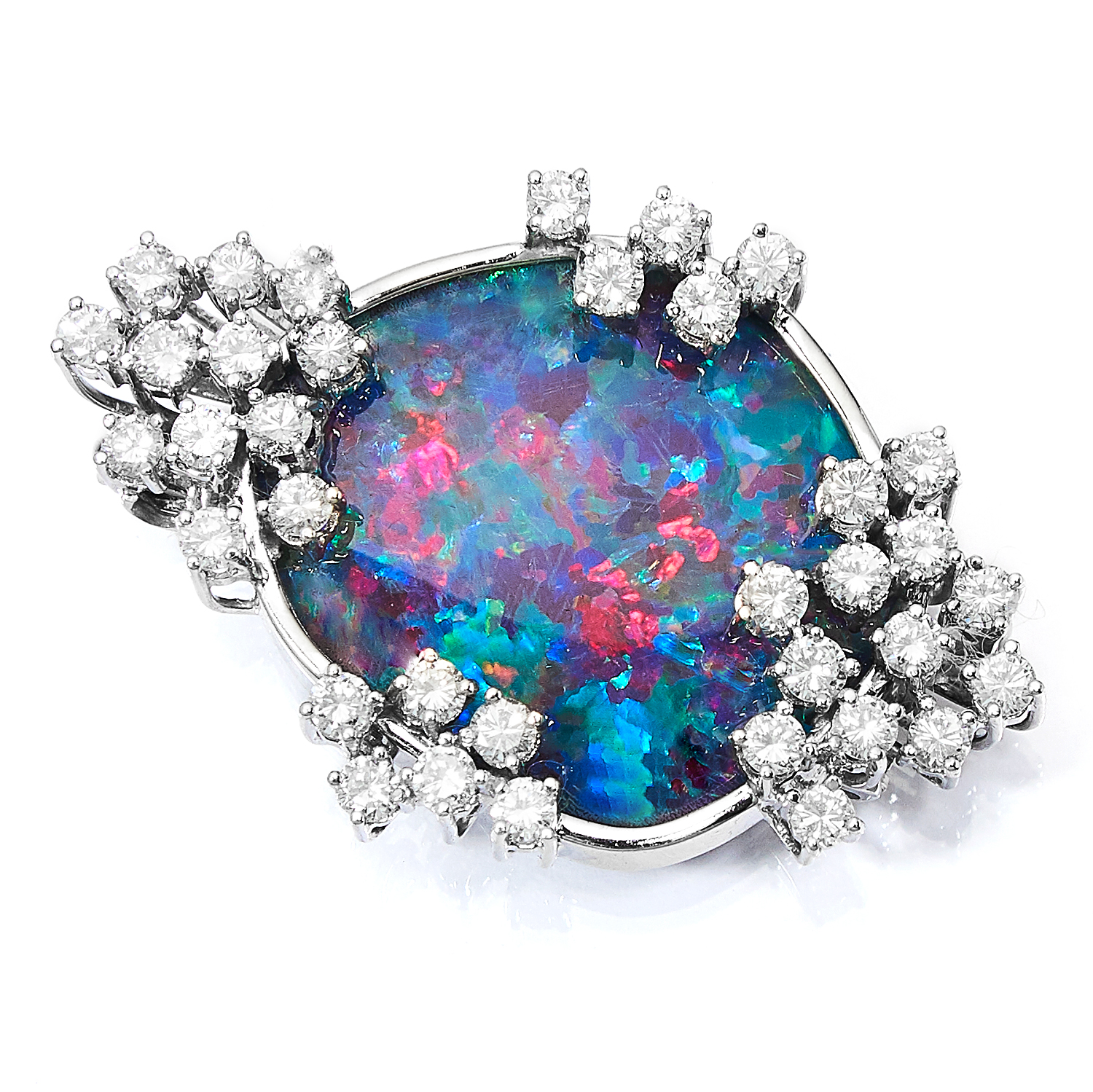 BLACK OPAL AND DIAMOND BROOCH in 14ct white gold, set with a black opal doublet in a border of round