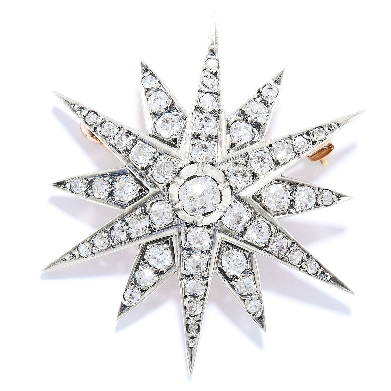 ANTIQUE 3.60 CARAT DIAMOND STAR BROOCH in yellow gold, set with old cut diamonds totalling