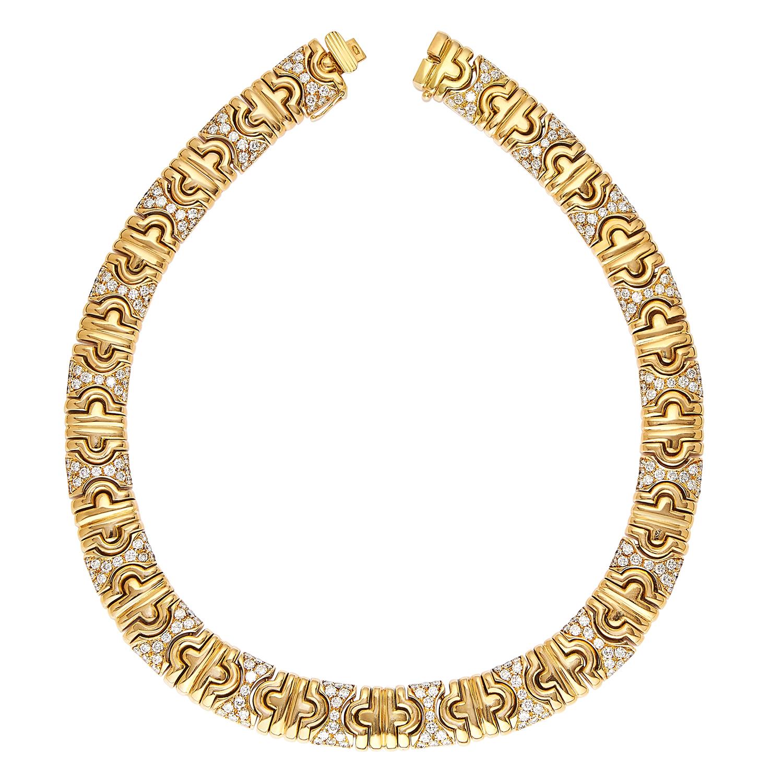 PARANTHESIS DIAMOND COLLAR NECKLACE, BULGARI in 18ct yellow gold, comprising of alternating plain