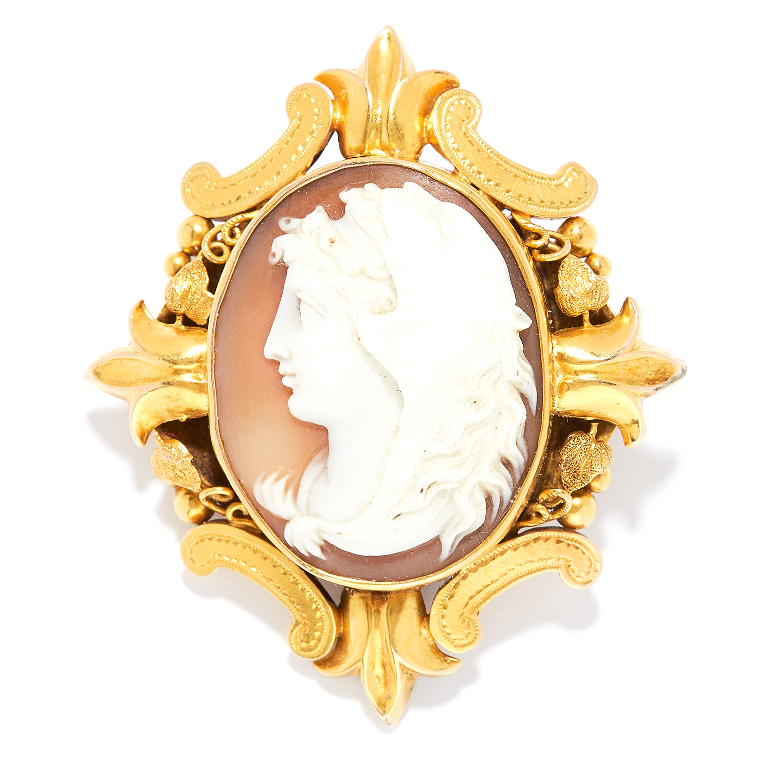 ANTIQUE CARVED CAMEO HAIRWORK MOURNING BROOCH in high carat yellow gold, set with a carved cameo