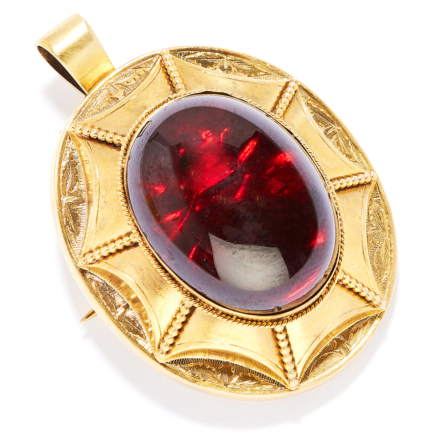 Los 9 - ANTIQUE GARNET MOURNING PENDANT / BROOCH, 19TH CENTURY in high carat yellow gold, set with an oval