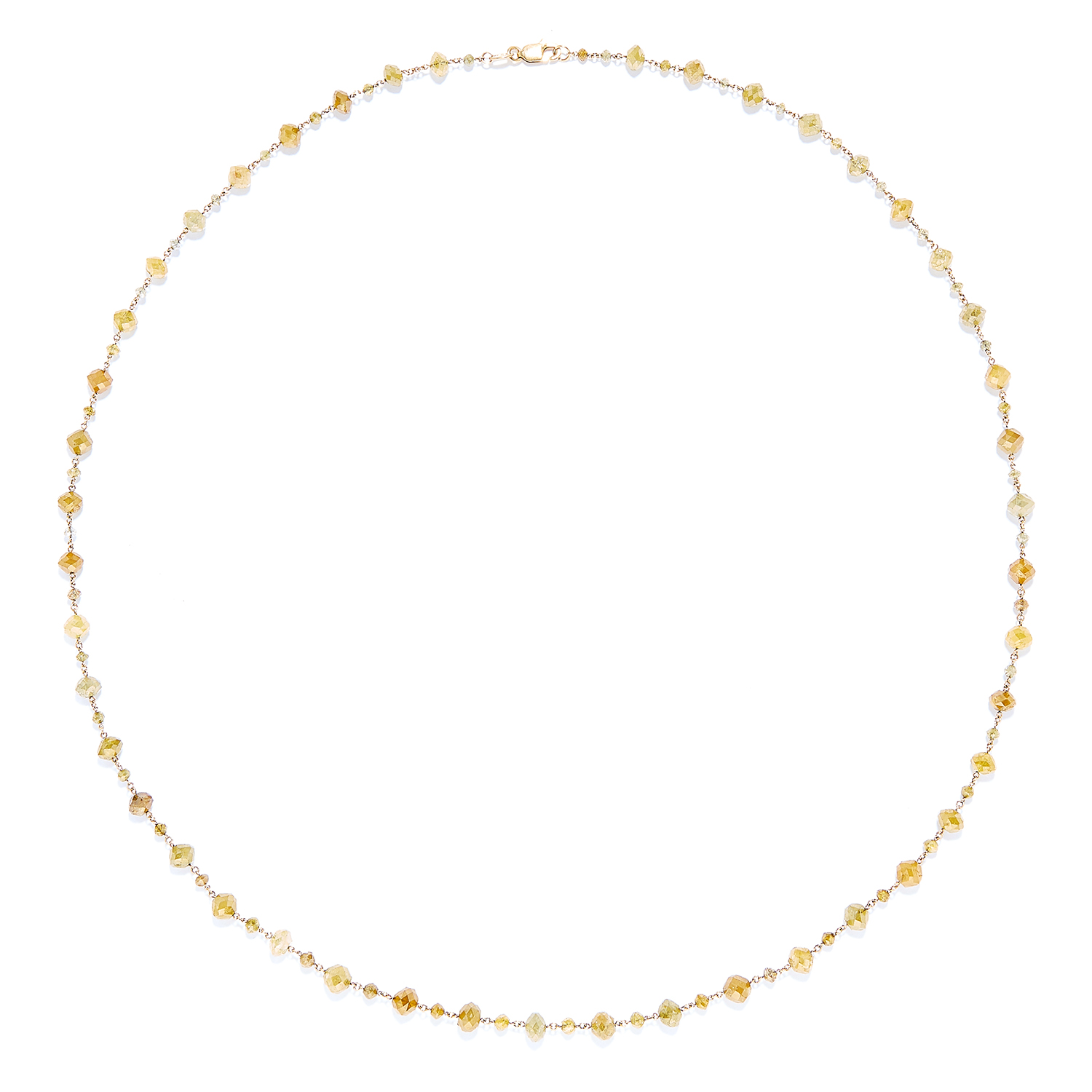 45.54 CARAT FANCY YELLOW DIAMOND BEAD NECKLACE, in 18ct yellow gold, comprising of a single row of