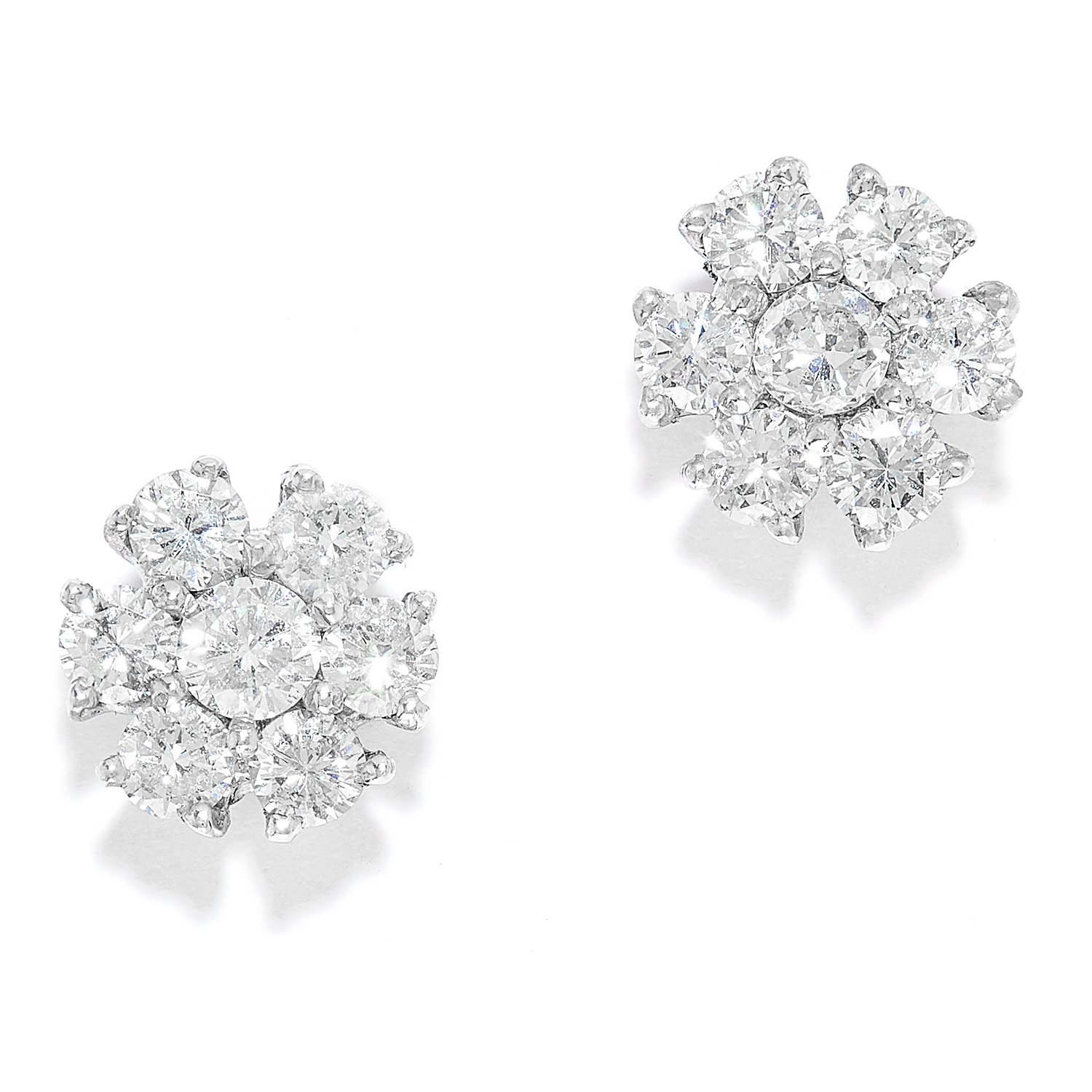 1.00 CARAT DIAMOND STUD EARRINGS in 18ct white gold, each set with round cut diamonds totalling