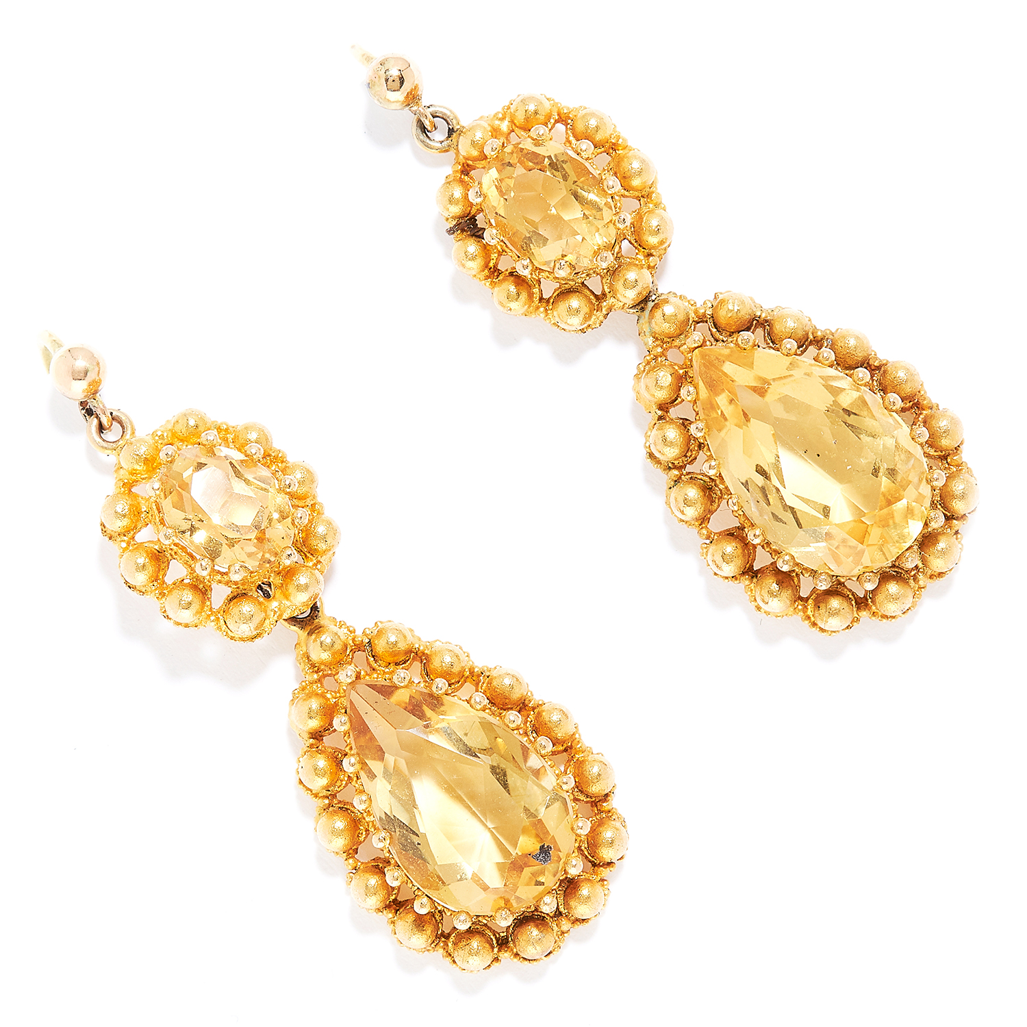 ANTIQUE CITRINE EARRINGS in high carat yellow gold, each set with an oval and pear cut citrine,