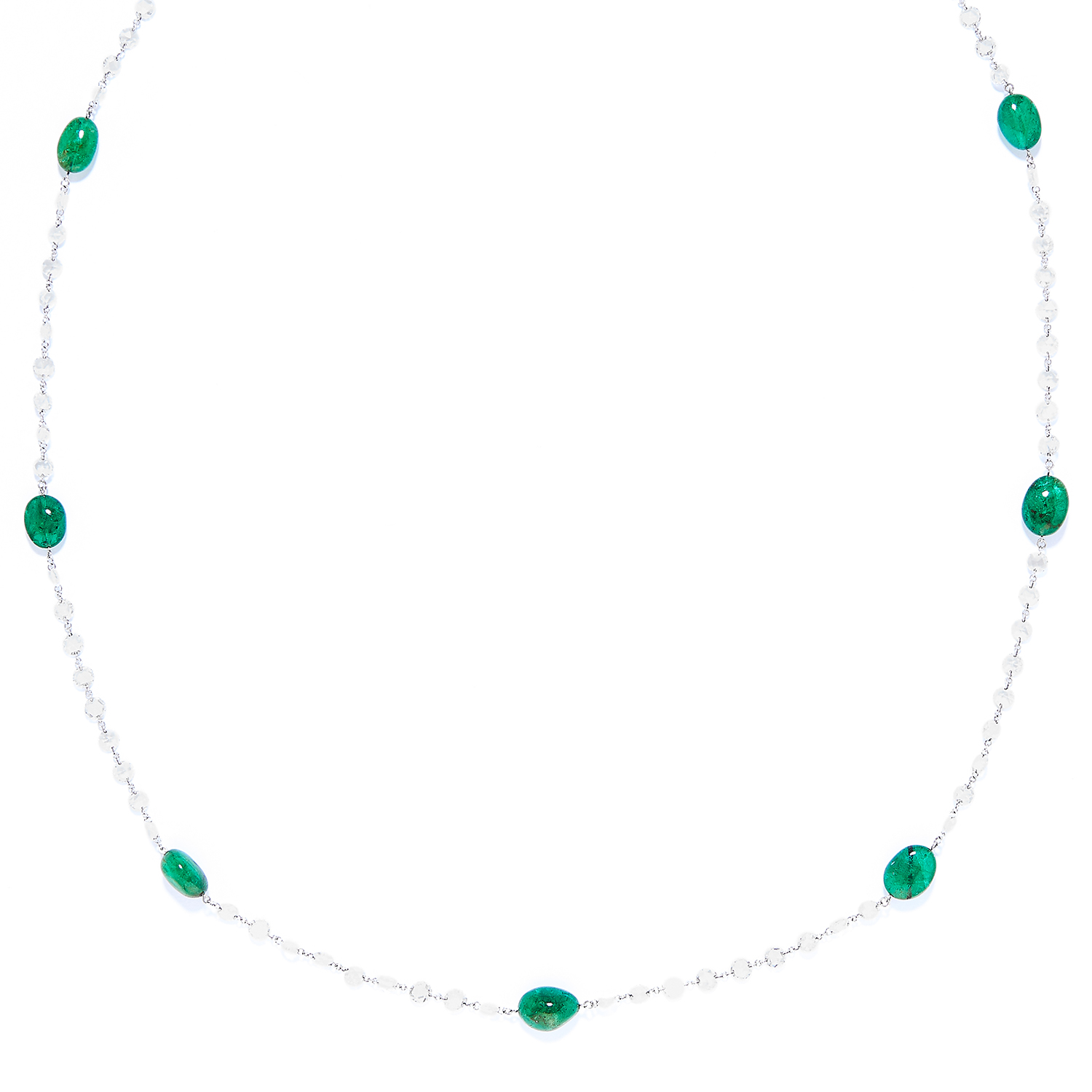 EMERALD AND DIAMOND NECKLACE in 18ct white gold, comprising of alternating polished emerald beads