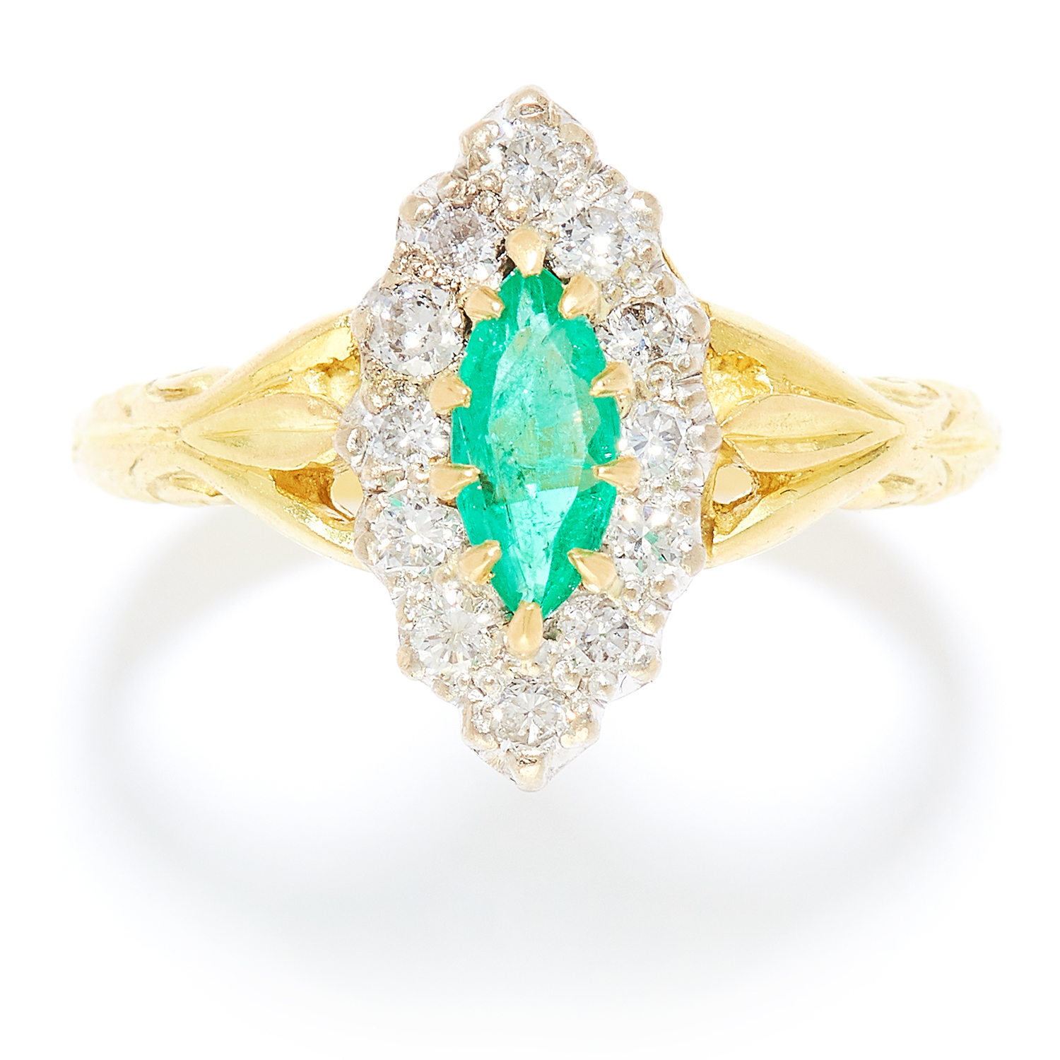 EMERALD AND DIAMOND DRESS RING in 18ct yellow and white gold, the marquise cut emerald encircled