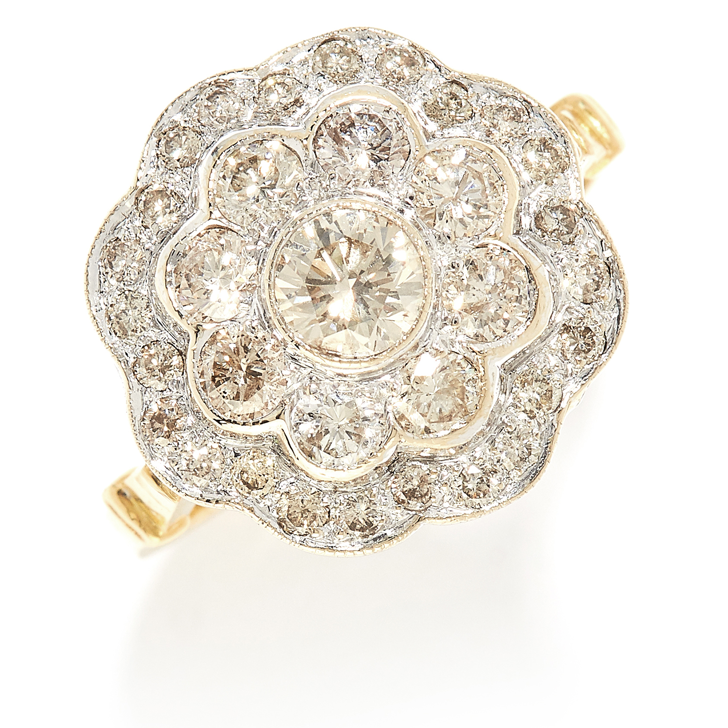 1.70 CARAT DIAMOND CLUSTER RING in high carat yellow gold, set with round cut diamonds totalling