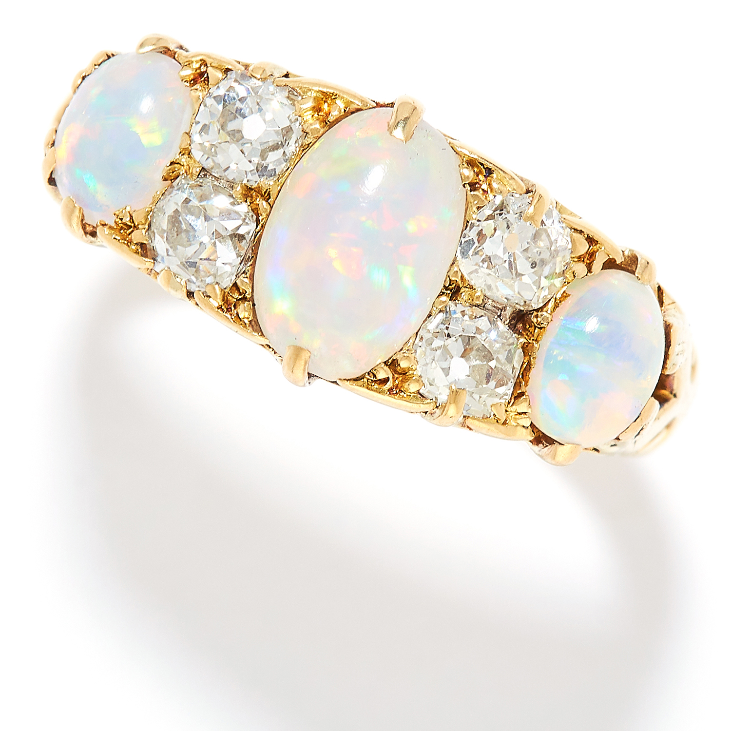 ANTIQUE OPAL AND DIAMOND RING, LATE 19TH CENTURY in high carat yellow gold, set with a trio of