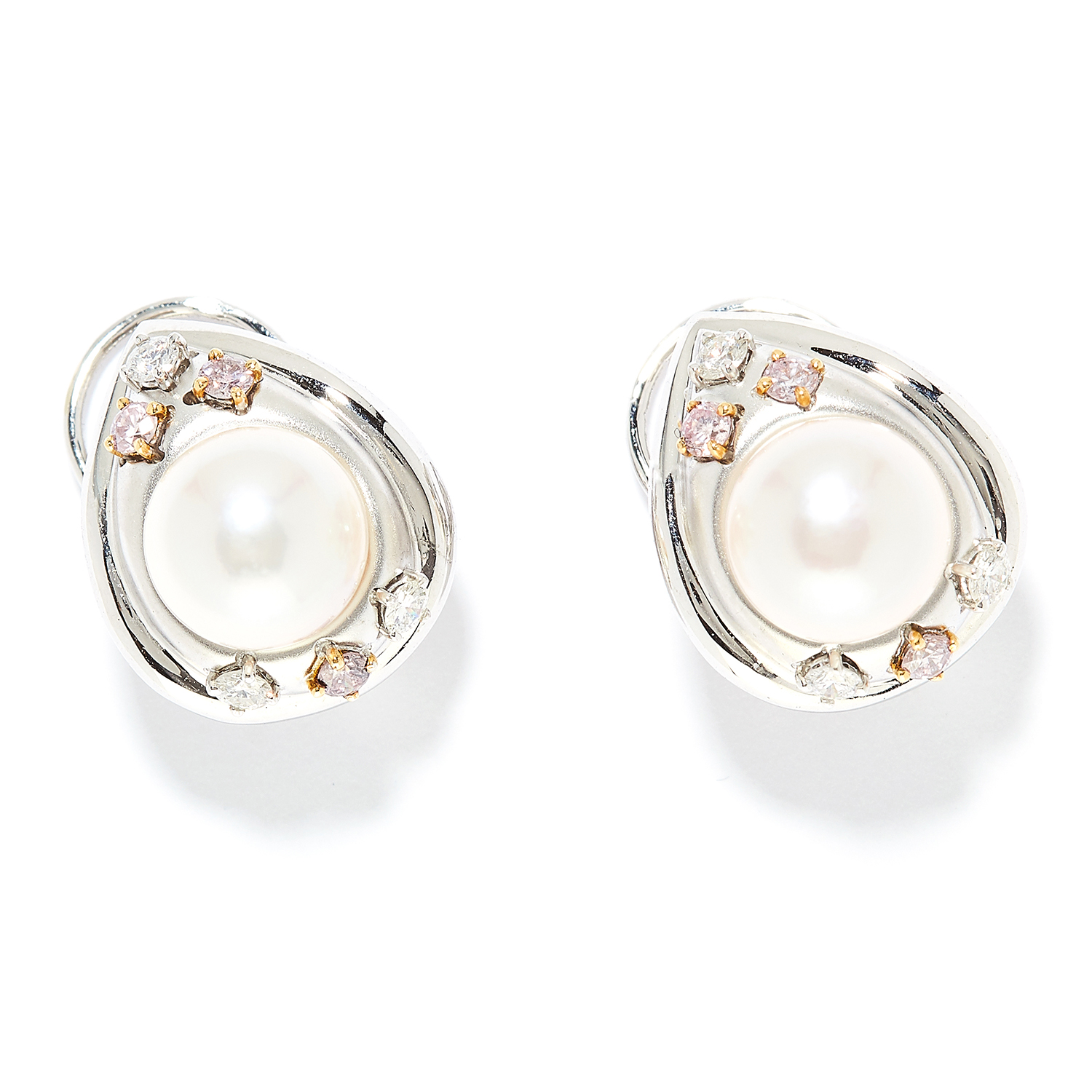 PEARL, DIAMOND AND FANCY PINK DIAMOND EARRINGS in 18ct white gold, each set with a pearl of