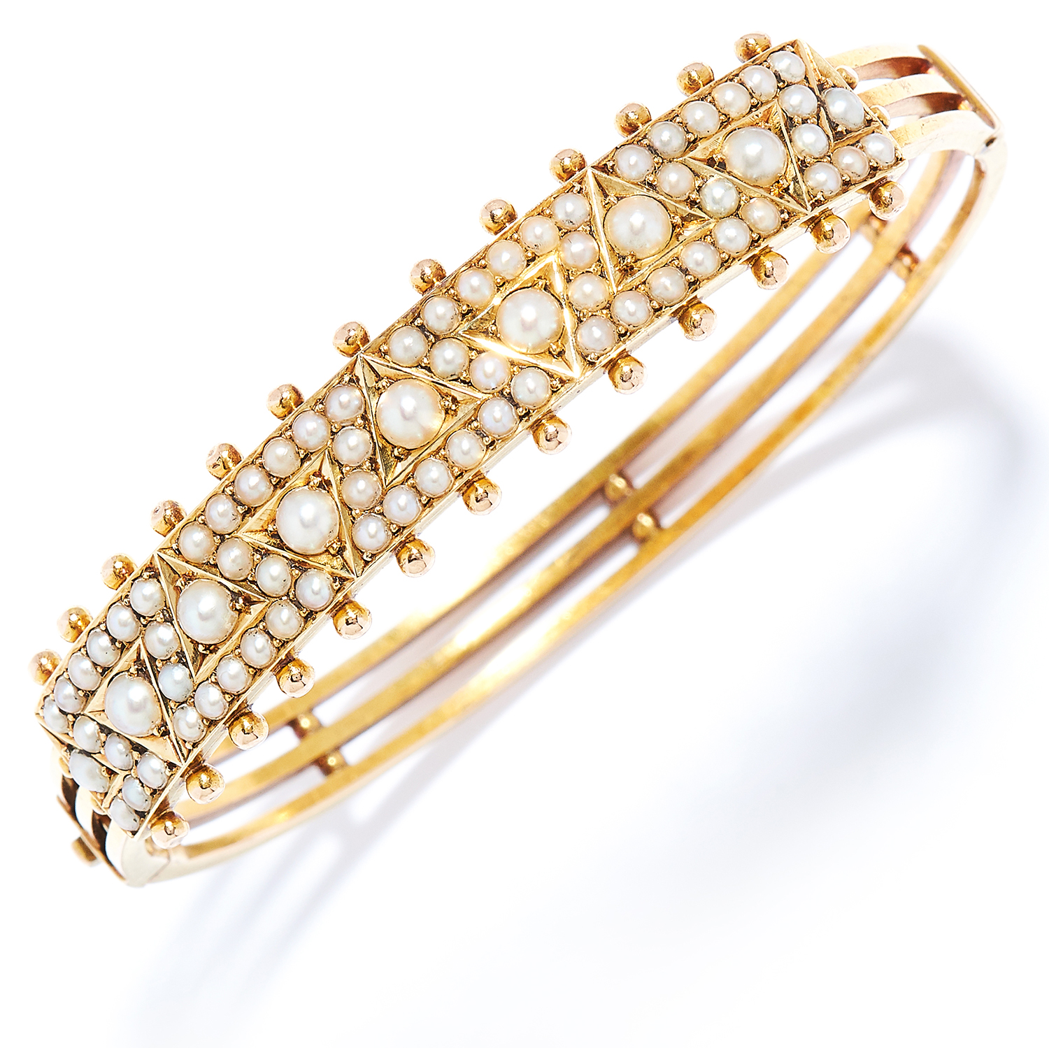 ANTIQUE SEED PEARL BANGLE in high carat yellow gold, set with rows of seed pearls, unmarked, 5.5cm