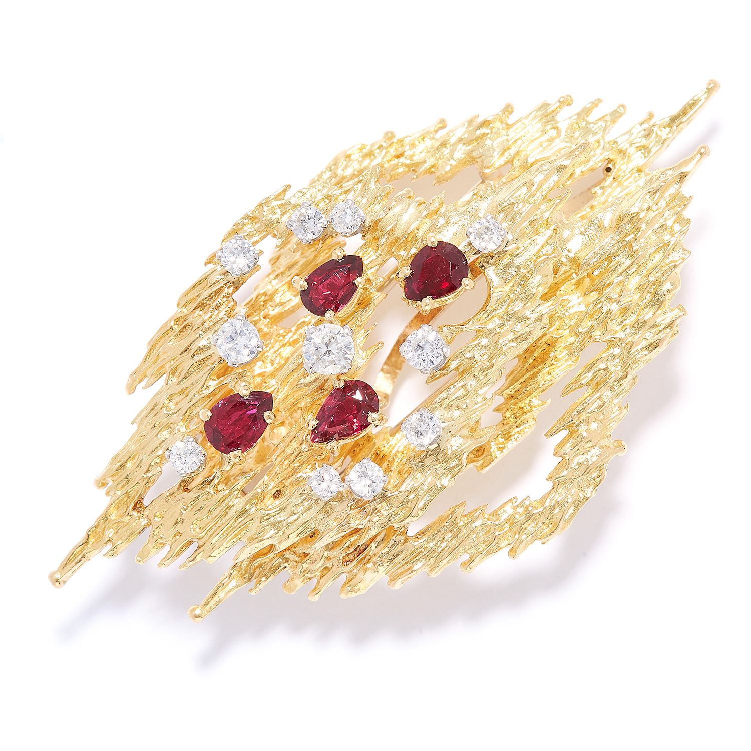 RUBY AND DIAMOND BROOCH / PENDANT, CIRCA 1976 in 18ct yellow gold, in abstract design, jewelled with