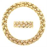 'CASMIR' DIAMOND NECKLACE AND BRACELET SUITE in 18ct yellow gold, in the style of Chopard, each