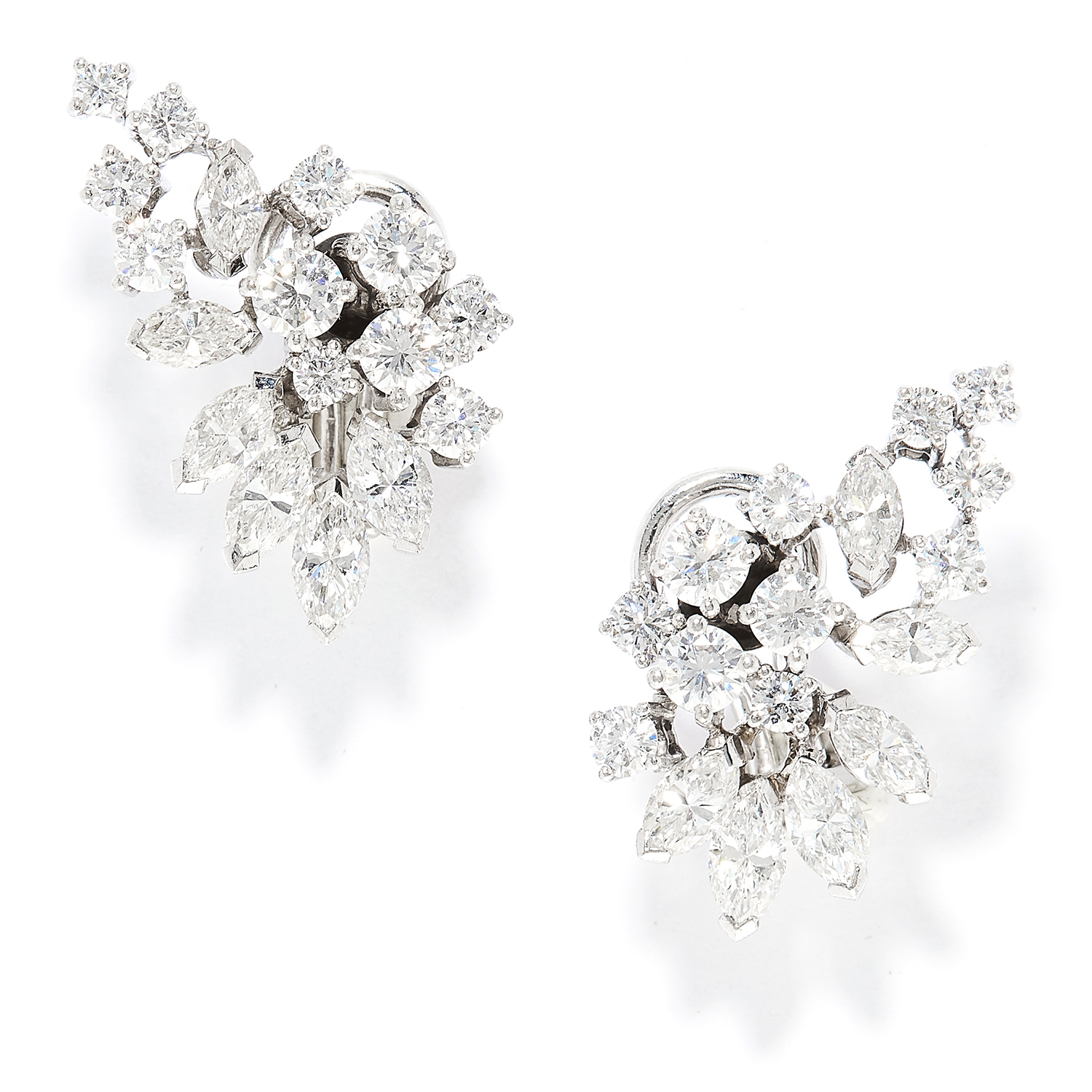 Los 50 - 3.50 CARAT DIAMOND EARRINGS in 18ct white gold, in foliate motif set with round and marquise cut