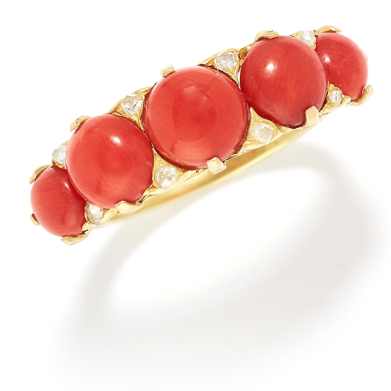 CORAL AND DIAMOND FIVE STONE RING in yellow gold, comprising of five cabochon coral with rose cut