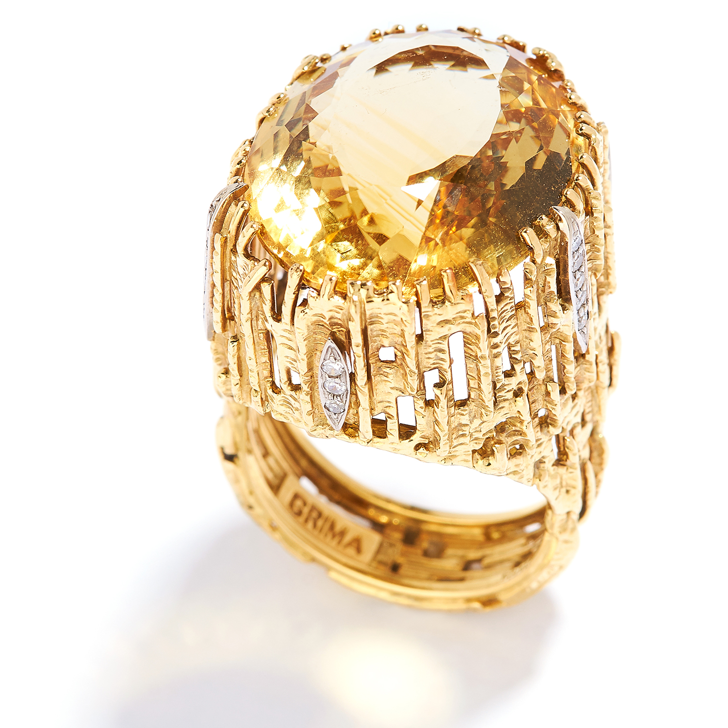 CITRINE AND DIAMOND RING, GRIMA, CIRCA 1972, in 18ct yellow gold, set with an oval cut citrine in - Bild 2 aus 2