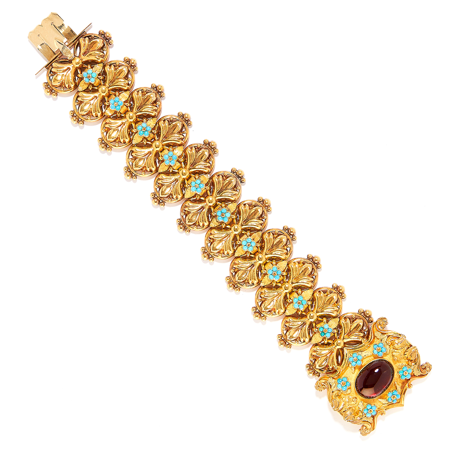 ANTIQUE GARNET AND TURQUOISE FANCY LINK BRACELET in high carat yellow gold, set with cabochon
