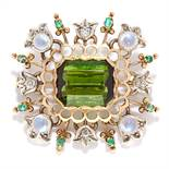 ANTIQUE TOURMALINE, EMERALD AND DIAMOND BROOCH, 19TH CENTURY in yellow gold and silver, the