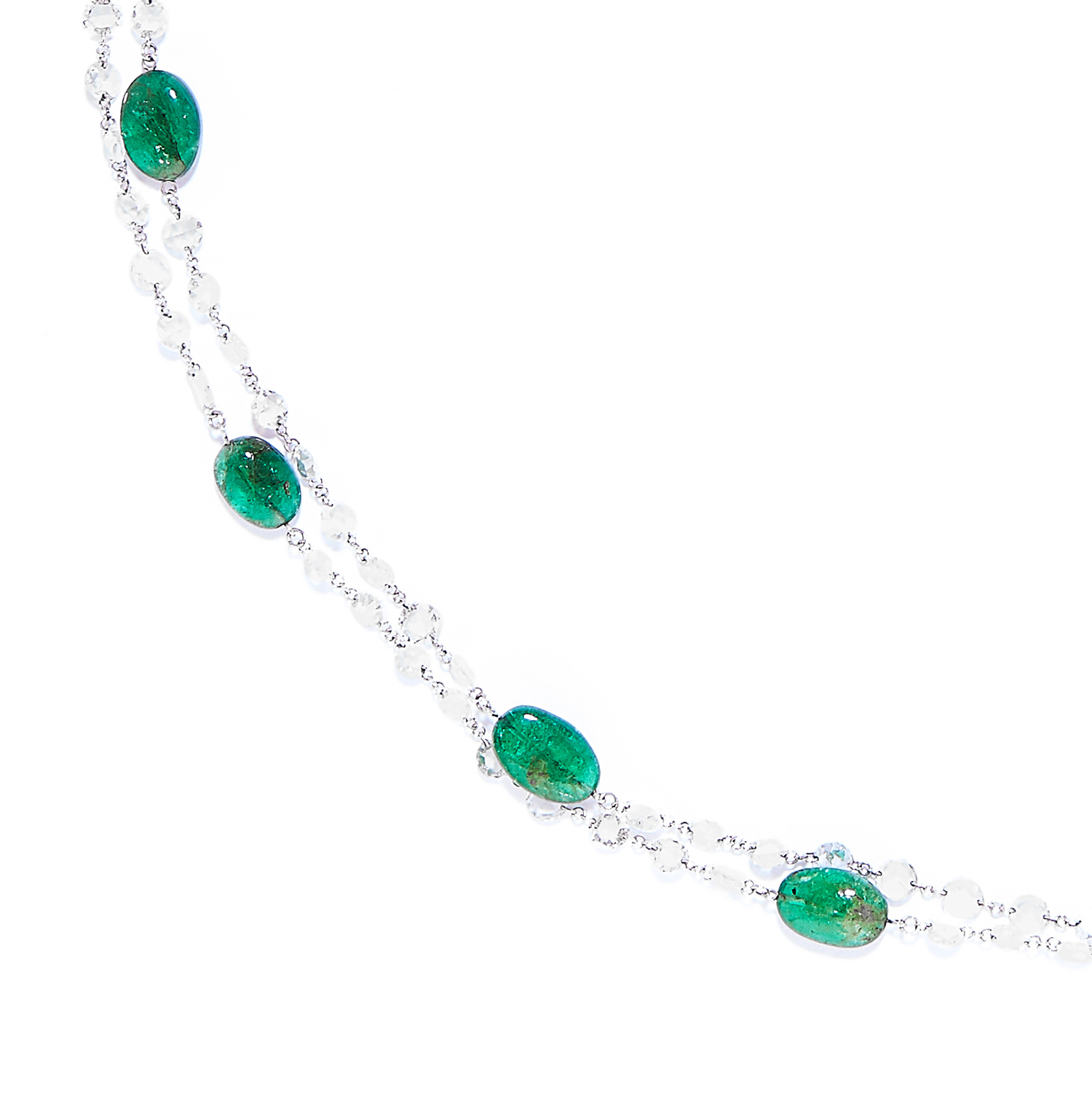 EMERALD AND DIAMOND NECKLACE in 18ct white gold, comprising of alternating polished emerald beads - Bild 2 aus 3