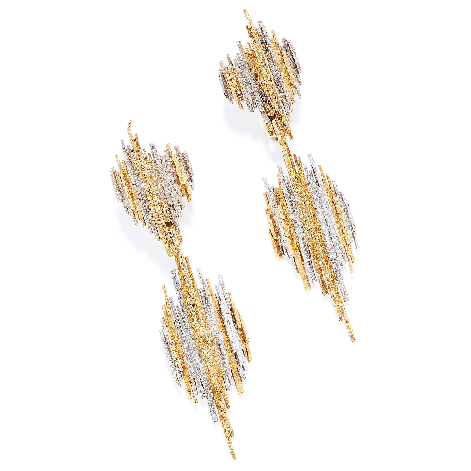 TWO TONE GOLD DAY-TO-NIGHT EARRINGS, CHARLES DE TEMPLE, 1979 in 18ct yellow gold, each comprising of