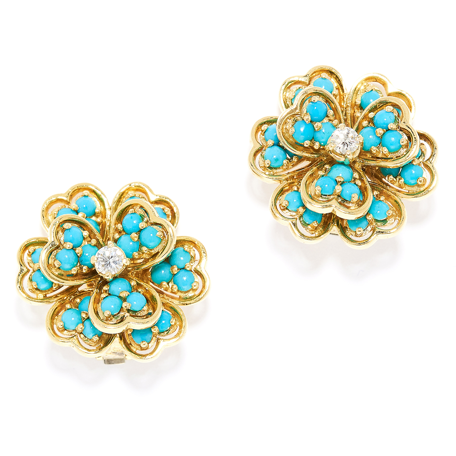 TURQUOISE AND DIAMOND CLIP EARRINGS, BEN ROSENFELD 1963 in 18ct yellow gold, each designed as a