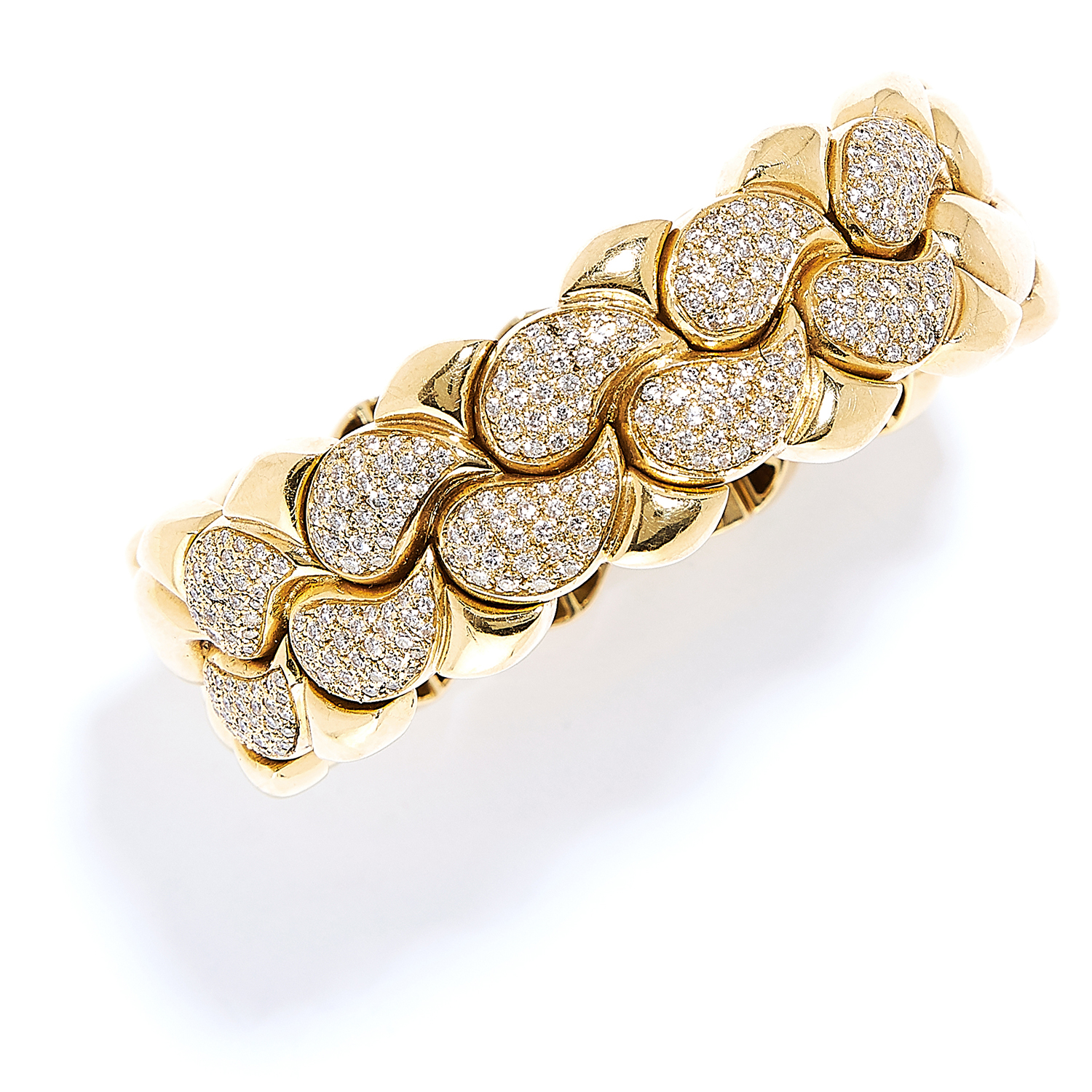'CASMIR' DIAMOND NECKLACE AND BRACELET SUITE in 18ct yellow gold, in the style of Chopard, each - Bild 3 aus 4