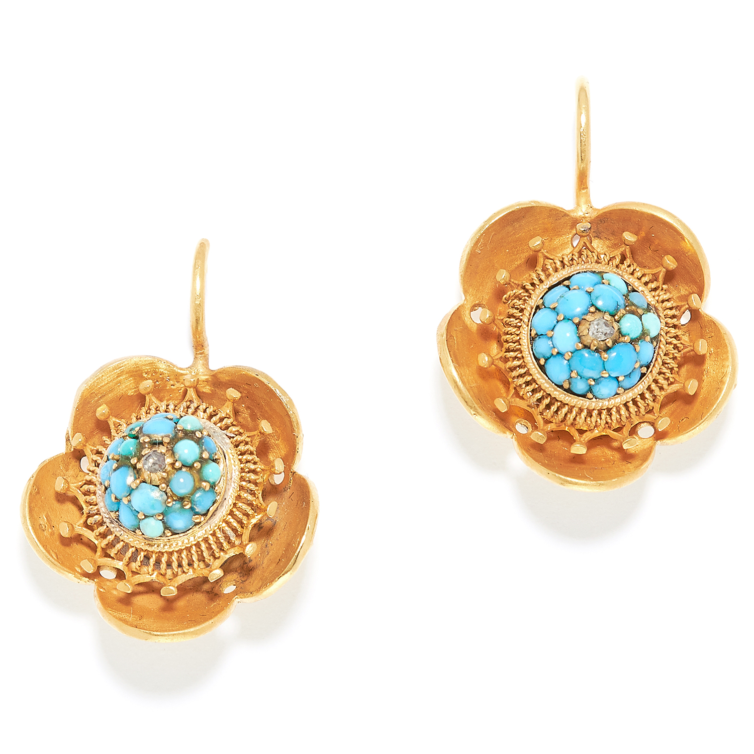 ANTIQUE TURQUOISE AND DIAMOND EARRINGS, 19TH CENTURY in high carat yellow gold, the floral designs