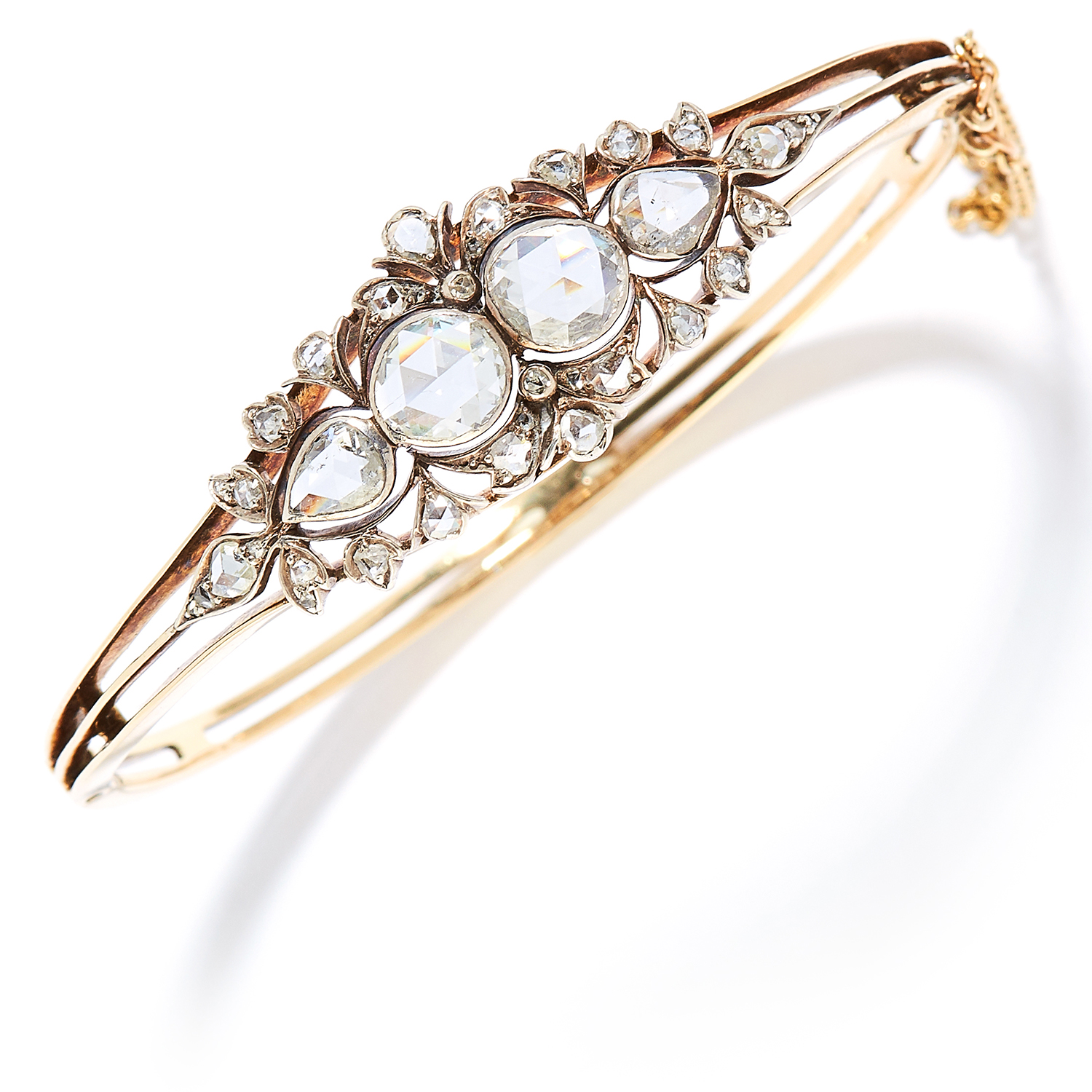 ANTIQUE DIAMOND BANGLE in yellow gold, set with rose cut diamonds totalling approximately 2.30