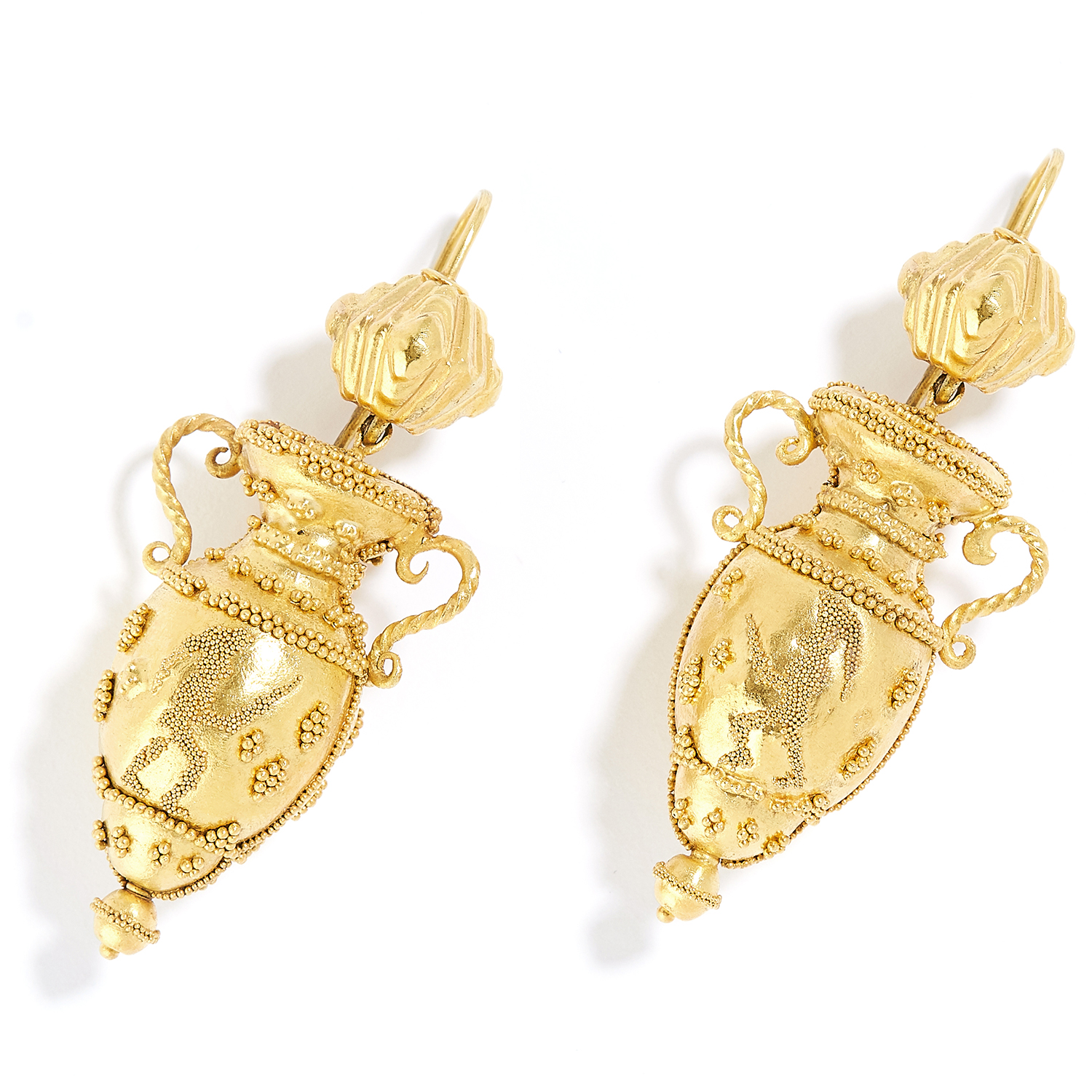 ANTIQUE ETRUSCAN REVIVAL URN EARRINGS in high carat yellow gold, each in form of an urn decorated in