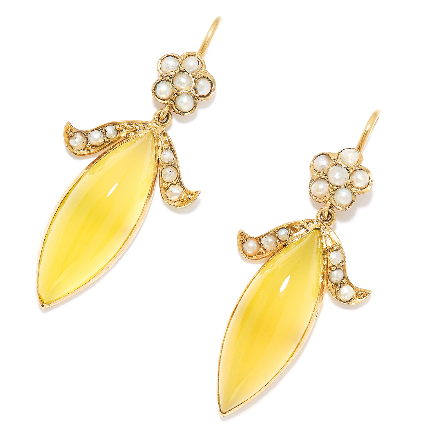 PEARL AND YELLOW GEMSTONE EARRINGS in yellow gold, in foliate and ribbon motif set with seed