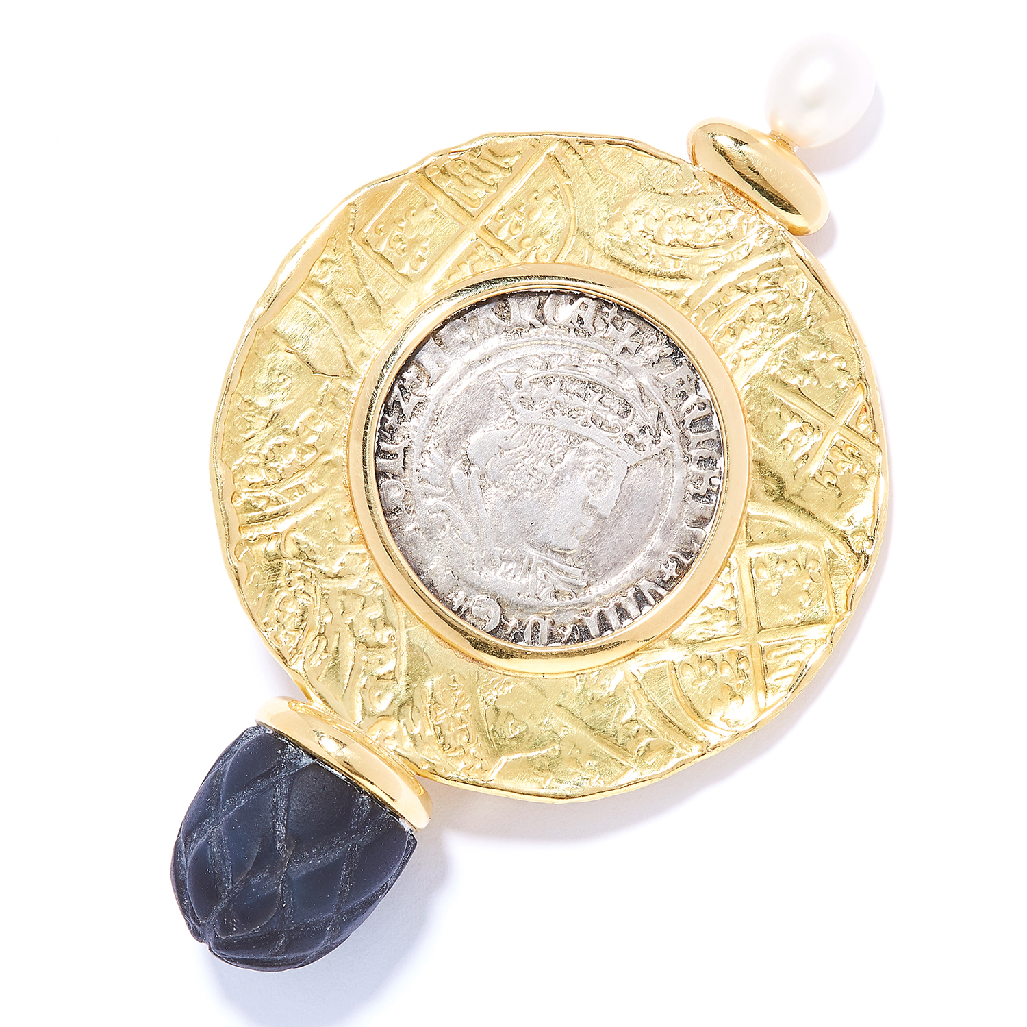 TUDOR COIN, PEARL AND BLACK HARDSTONE BROOCH, ELIZABETH GAGE, 1993 in 18ct yellow gold, comprising