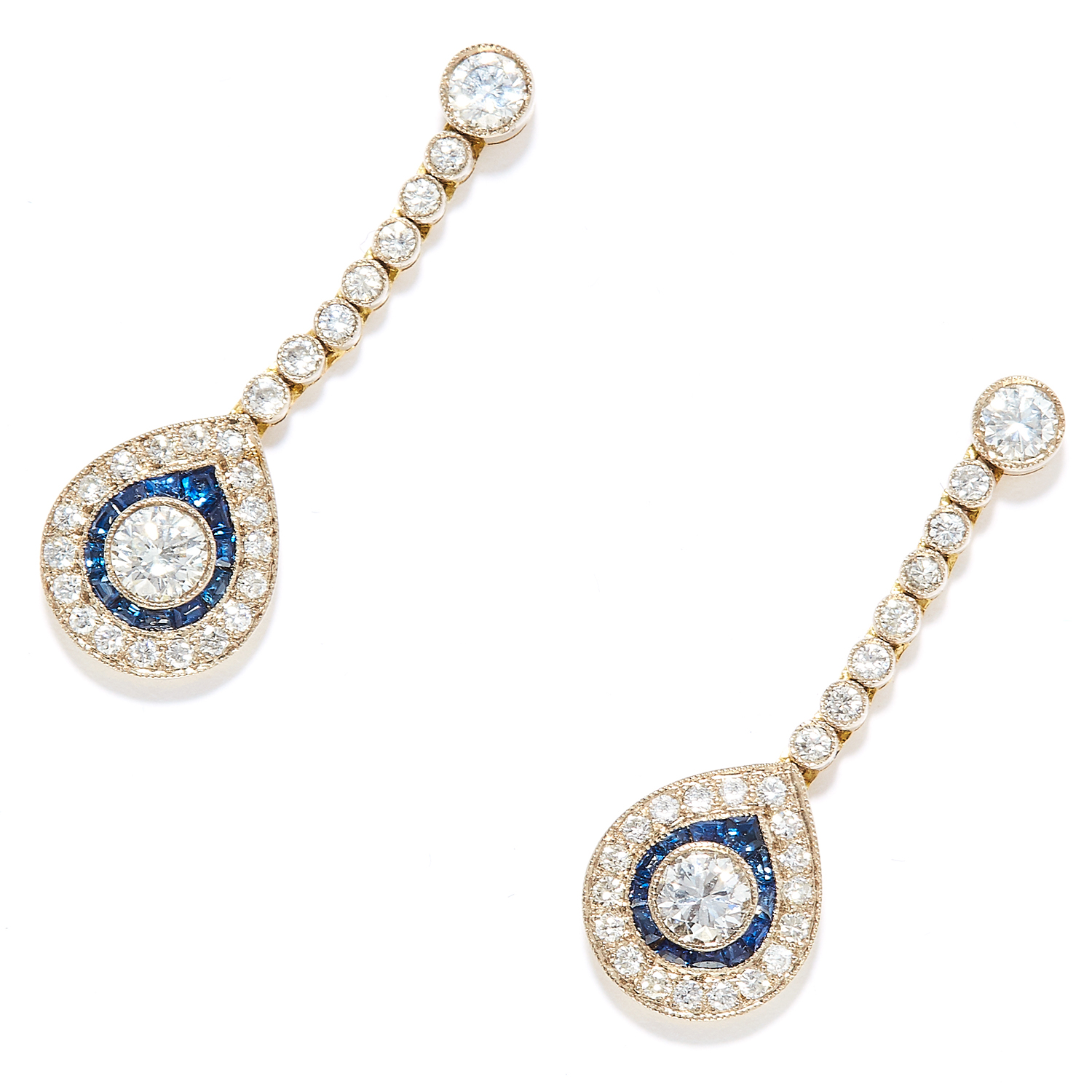 DIAMOND AND SAPPHIRE EARRINGS in yellow gold, each comprising of round cut diamonds totalling