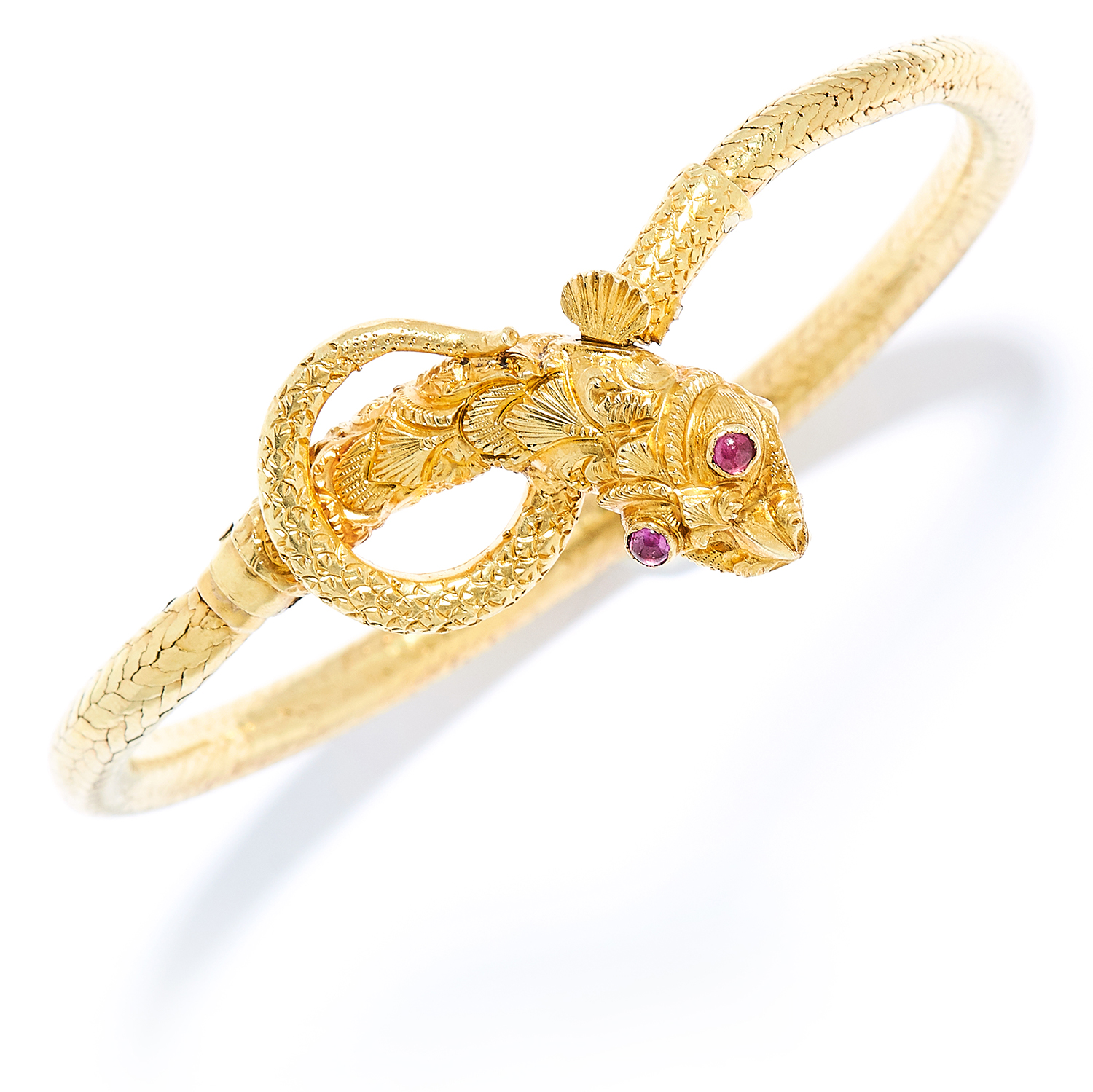 Los 5 - ANTIQUE RUBY SNAKE / SERPENT BANGLE in high carat yellow gold, depicting a dragon coiled around