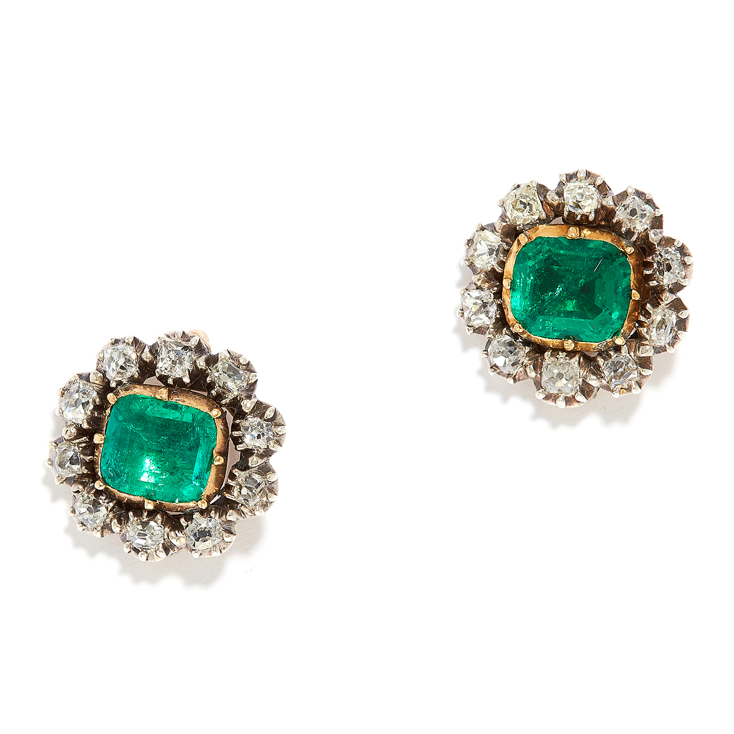 ANTIQUE EMERALD AND DIAMOND CLUSTER EARRINGS in 18ct yellow gold, each set with an emerald cut
