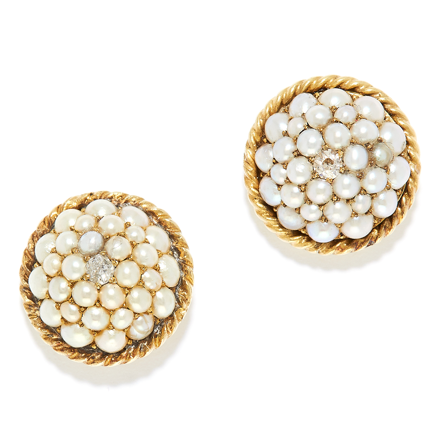 ANTIQUE PEARL AND DIAMOND EARRINGS in high carat yellow gold, each set with seed pearls and an old