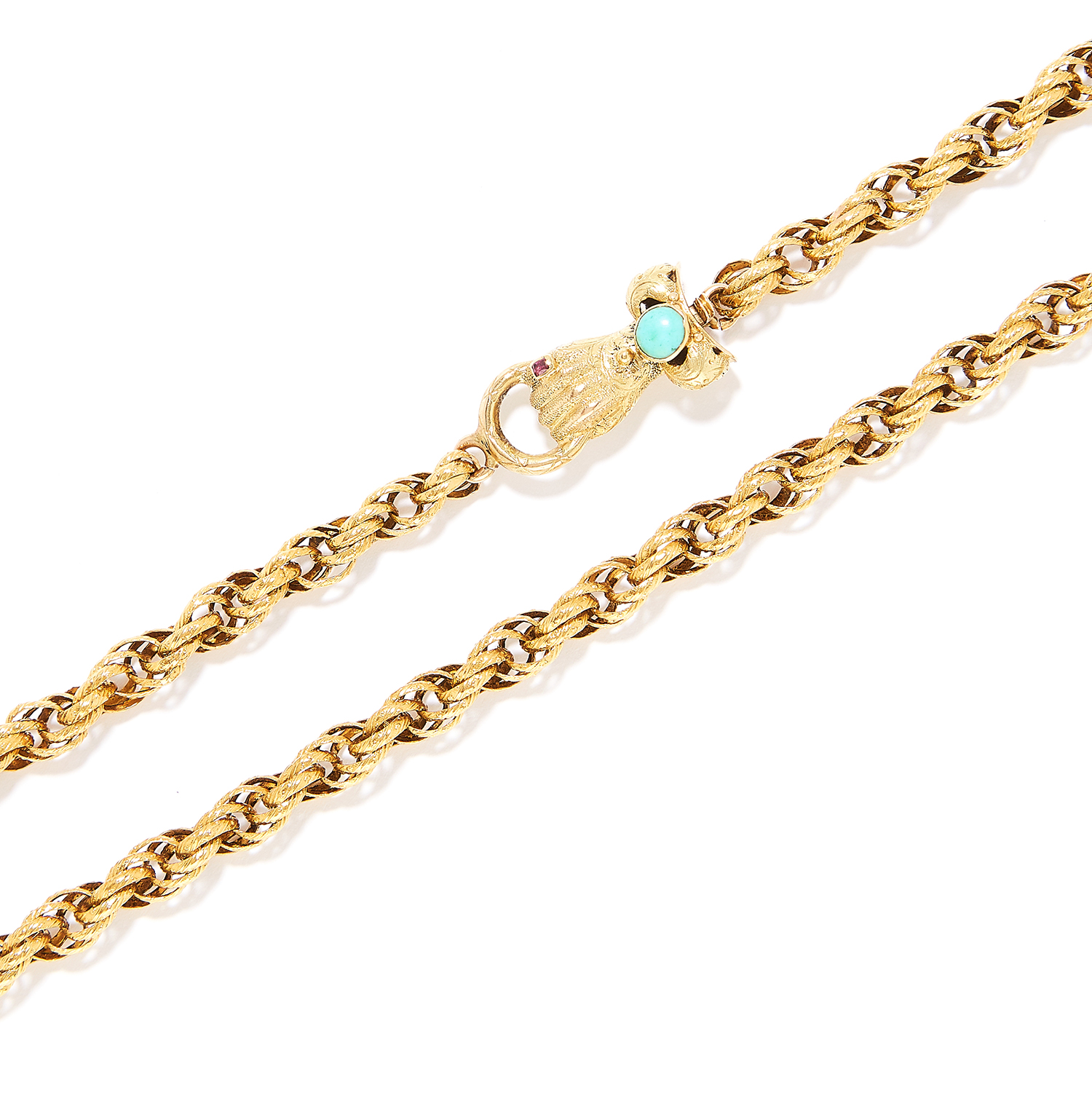 ANTIQUE GEORGIAN TURQUOISE AND GARNET FANCY LINK CHAIN in yellow gold, comprising of a fancy link - Image 2 of 2